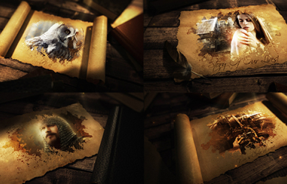AE模板 古代史诗卷轴展开动画片头 Ancient Epic Scroll