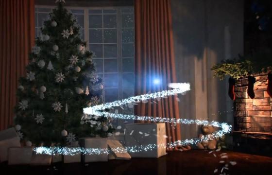 AE模板 圣诞节小镇光线粒子飞越LOGO标志开场 Christmas Town