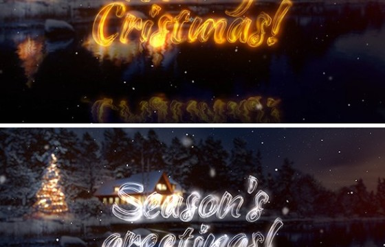 AE模板 圣诞节春节问候 粒子光效透明文字特效 Greetings
