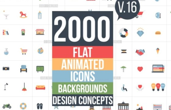 AE模板素材 2000多个MG扁平化图标ICO场景动画小元素 v16