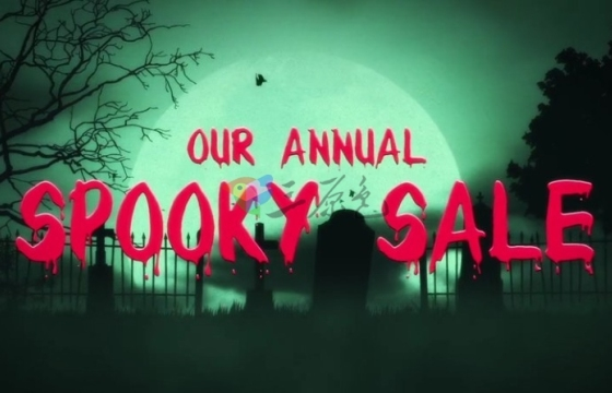 AE模板 万圣鬼节恐怖文字场景片头+音效 Halloween Logo Reveal