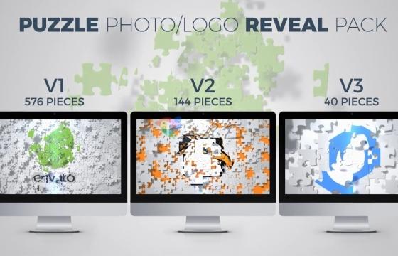 AE模板 益智拼图照片 标志片头 Puzzle Photo Logo Reveal Pack
