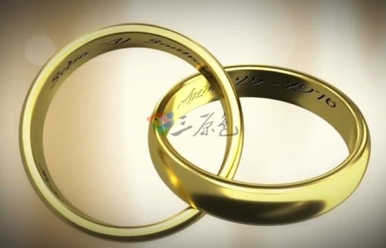 AE模板 婚礼婚庆素材模板 金色结婚戒指相扣 Rings