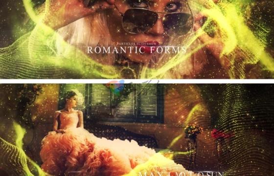 AE模板 浪漫的特效星光粒子飞舞相册片头 Romantic Forms Particles