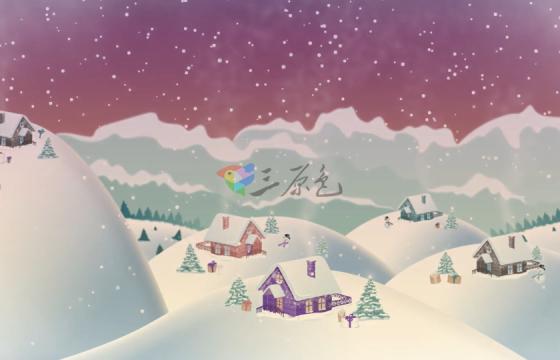Ae模板 圣诞节雪地村庄片头动画Christmas Village Landscape