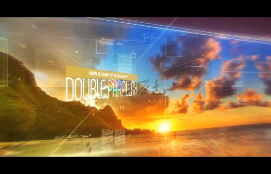 Ae模板 大气场景照相册三维视差拼贴图片展示Double Parallax Slideshow-