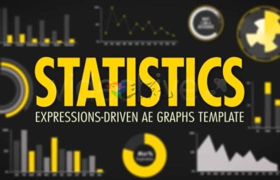 AE模板 数据图表 统计表格 趋势曲线图 Videohive Statistics