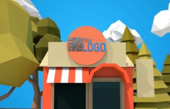 AE模板 卡通商店门头动画LOGO标志展示片头 Store Logo