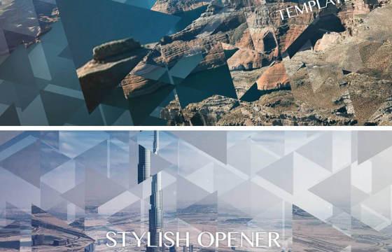 AE模板 创意三角形三维视差空间相册幻灯片 Stylish Opener