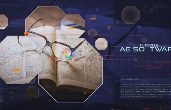 AE模板 八角形状数字过渡相册幻灯片 Techno Shapes Digital