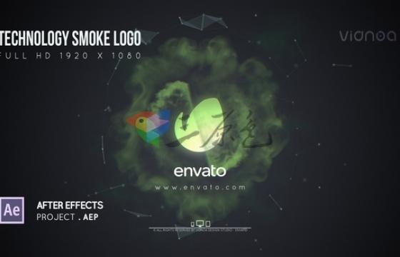 AE模板 公司企业LOGO标志动画演绎片头 Technology Smoke Logo