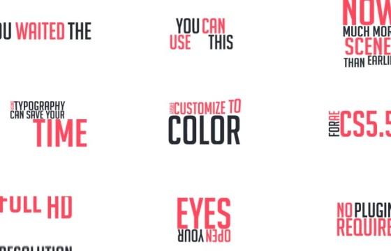Pr基本图形模板 30个文字标题字幕排版动画 Typography Mogrt