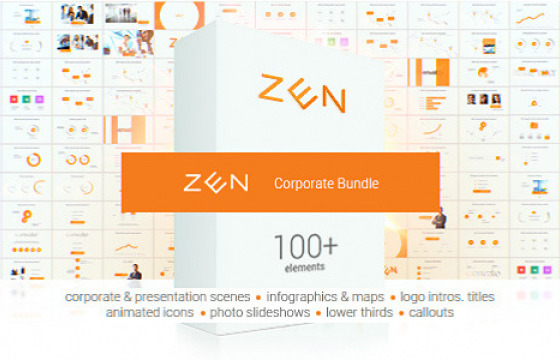 AE模板 清洁优雅企业公司图表模块化封装产品演示介绍时间线模版Zen Presentation Bundle