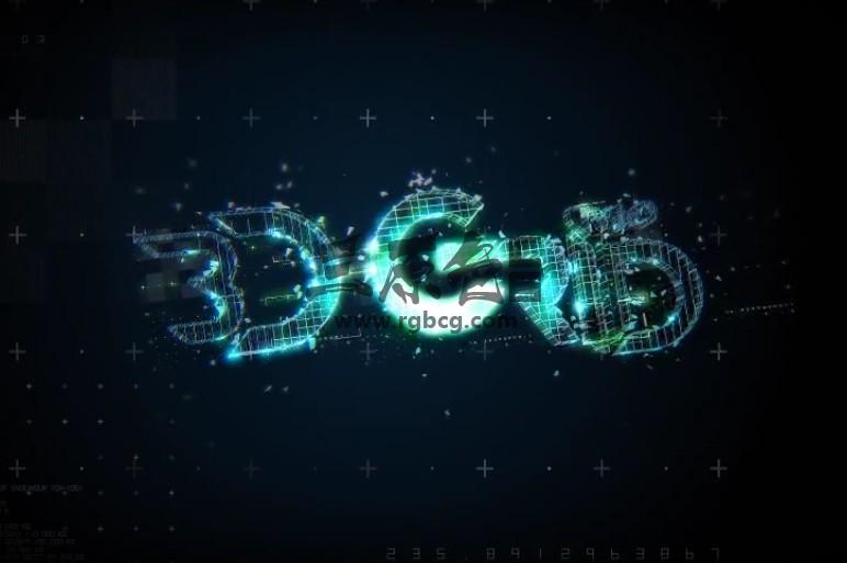 AE模板 三维网格文字LOGO标题动画片头 3D Grid Logo Ae 模板-第1张