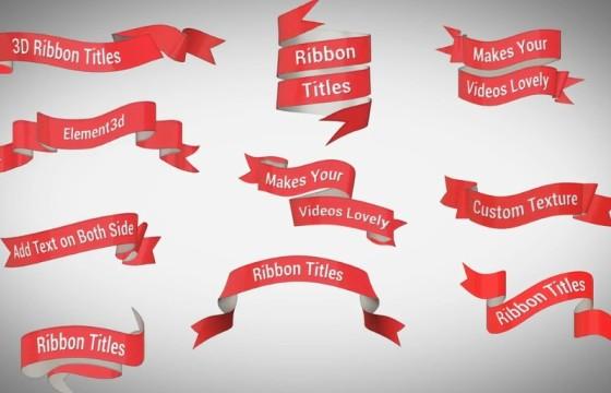AE模板 三维丝带标签文字标题字幕条动画 Ribbon Titles