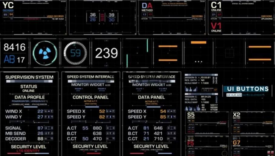 AE模板 4K网页按钮动画 HUD图表倒计时动画元素 Ui Elements Ae 模板-第1张