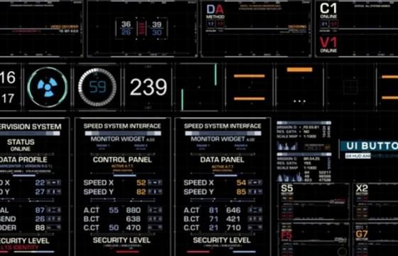 AE模板 4K网页按钮动画 HUD图表倒计时动画元素 Ui Elements