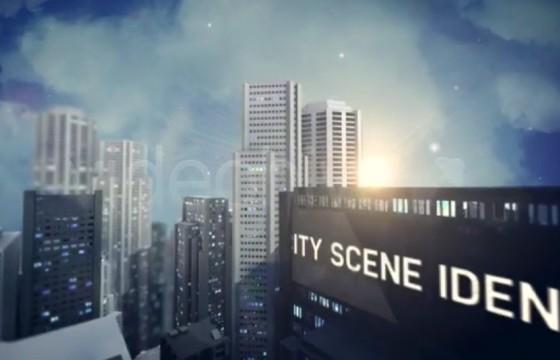AE模板 城市高楼航拍场景户外广告牌Logo片头 City Scene Ident