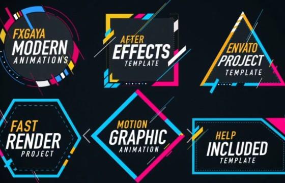 AE模板 五颜六色的图形文字标题字幕动画 Colorful Titles