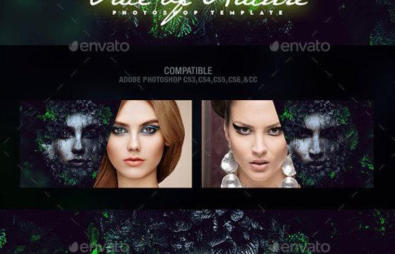 PSD模板-创意PS合成特效人物脸部自然照片模板