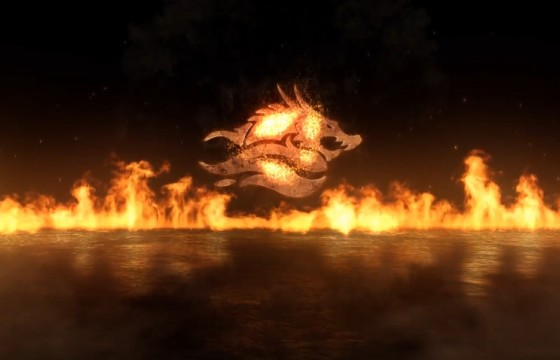 AE模板 飞入式火灾大火LOGO展示 Fly-In Fire Logo