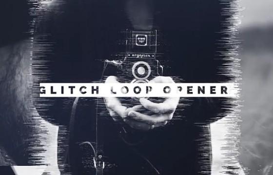 AE模板 图片视频转场拖影毛刺效果幻灯片 Glitch Loop Opener