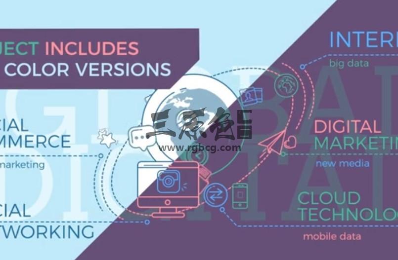 AE模板 世界地球仪数字信息图环绕地球动画 Global Infographic Ae 模板-第1张