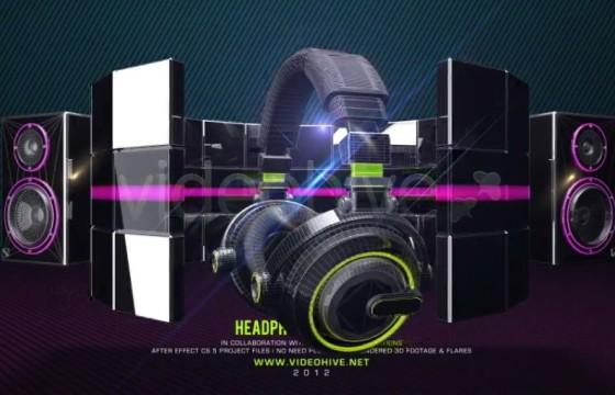 AE模板 音响耳机粒子沙化变形LOGO展示 Headphone Logo Sting