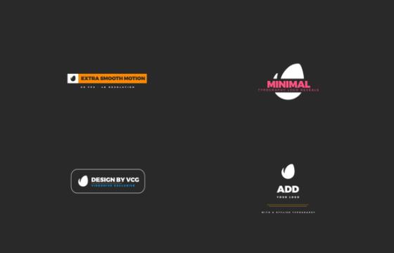 AE模板 图形动画排版LOGO展示片头 Minimal Typography Logos