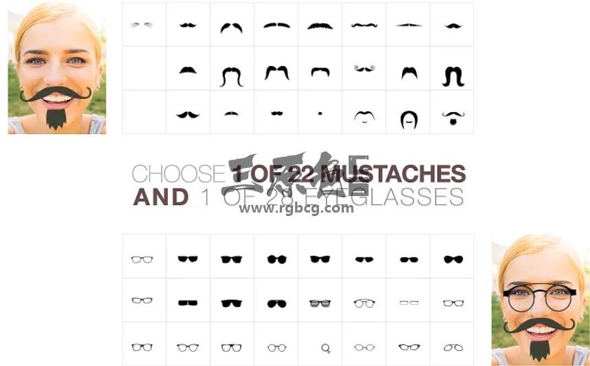 AE模板 有趣的胡子和眼镜动画 Mustaches And Beards Funny Ae 模板-第1张