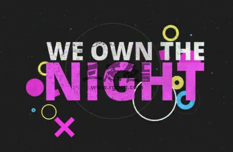 AE模板 狂欢派对图形动画文字标题 Own The Night Ae 模板-第1张