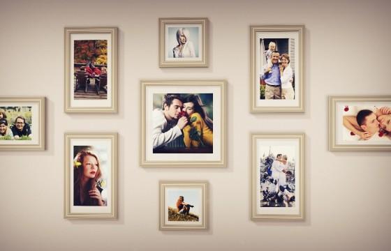 AE模板 温馨美好时刻照片相框心形汇聚展示 Photo Gallery Pack