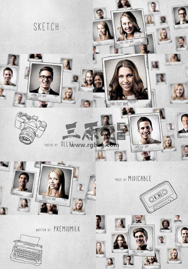 AE模板-手绘铅笔画素描风格照片展示片头 Sketch Photo Gallery Ae 模板-第1张