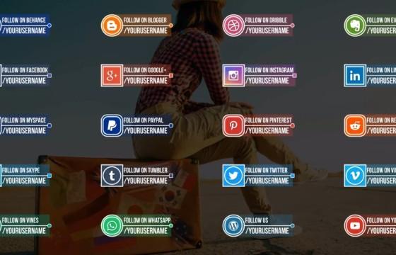 AE模板 栏目包装文本字幕条动画文字标题 Social Media Titles