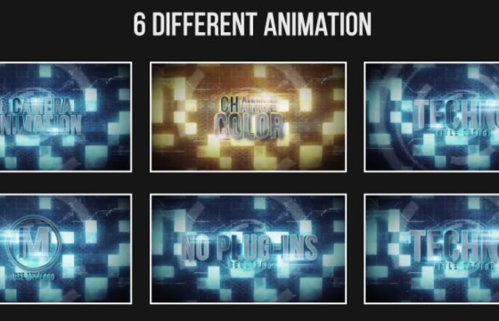 AE模板 高科技HUD元素背景文字LOGO动画 Techno Title