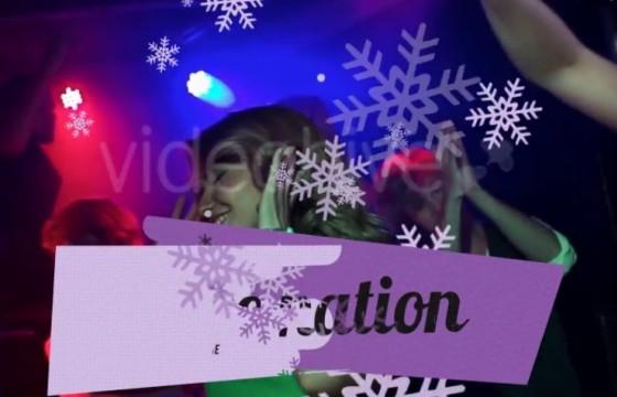AE模板 雪花图形动画转场过渡冬季派对 Winter Party