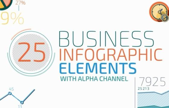 AE模板 25个HUD透明数据信息图表 百分比动画 Infographic