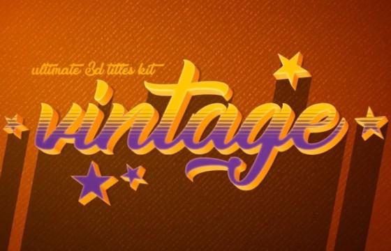 AE模板 10个复古三维文字标题LOGO长投影动画 Vintage Retro 10 Logo