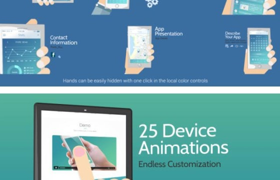 AE模板 移动设备APP程序手势动画介绍 Cartoony App Promo