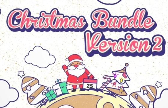 AE模板 圣诞节字幕条 相框 MG动画元素工具包 Christmas Vector