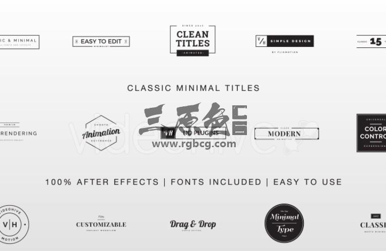 AE模板 经典扁平化文字标题字幕条排版动画 Classic Minimal Titles Ae 模板-第1张