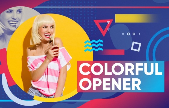 AE模板 彩色图形动画幻灯片 Videohive Colorful Opener