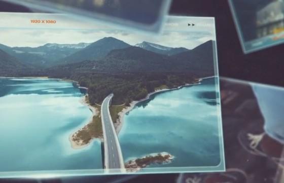 AE模板 纵向三维空间照片相册展示模板 Dynamic Glass Slideshow