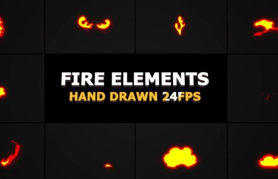 AE模板 MG卡通火焰动画元素工具包 Flame Elements