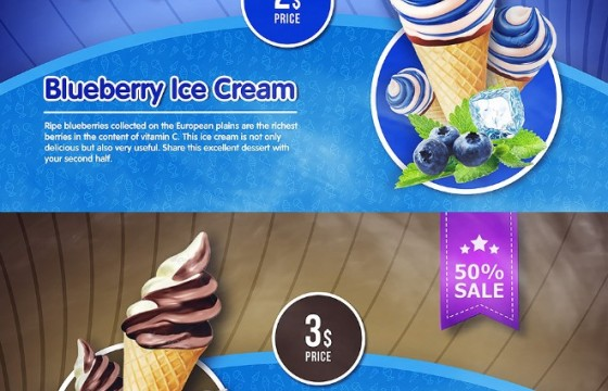 AE模板 冰淇淋动态促销广告宣传展示片头 Ice Cream Menu