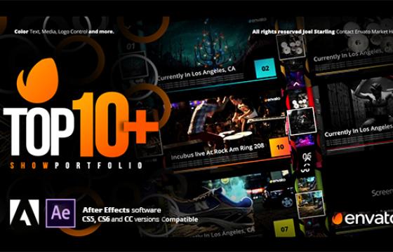 AE模板 10个视频文本字幕条介绍说明 Top +10 Opener