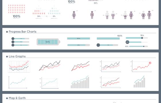 AE模板:450多个数据信息图表走势图动画工具包 Infographic Maker