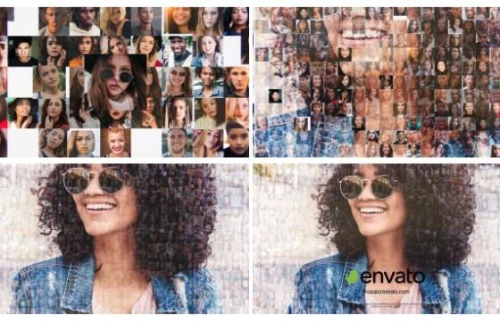 AE模板 照片汇聚LOGO显示片头 Mosaic Multi-Photo Reveals