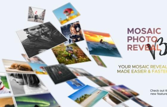 AE模板 马赛克照片墙LOGO汇聚展示 Mosaic Photo Reveal+脚本