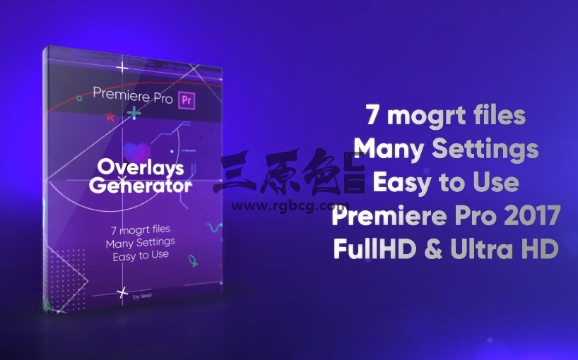 Pr基本图形模板 7个线条 炫光 Mogrt预设动画 Overlays Generator Pr 模板-第1张